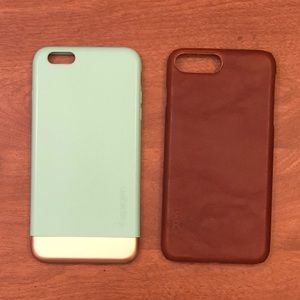 2 iPhone 6 Plus cases- leather, turquoise and gold